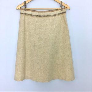 Gap Wool A Line Midi Skirt, Fringe Ribbon Trim